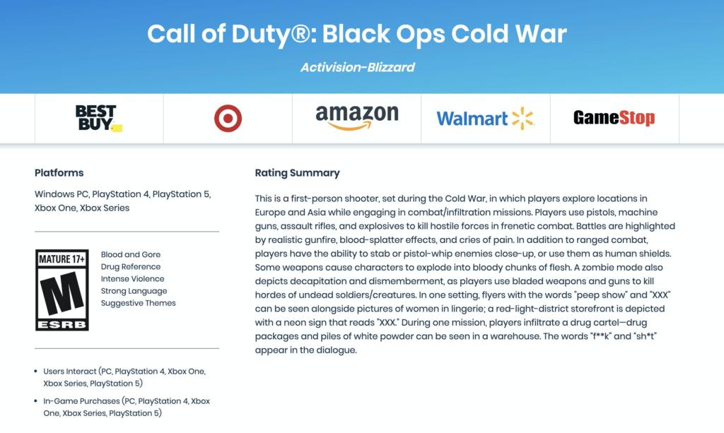 Возрастной рейтинг Call of Duty: Black Ops Cold War - 17+