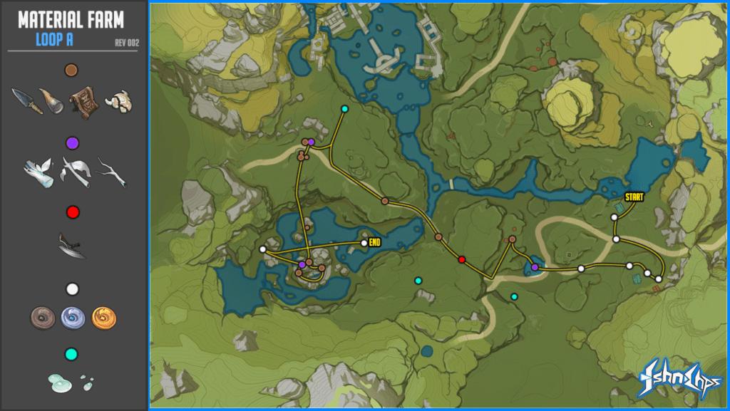 Карта материалов Genshin Impact