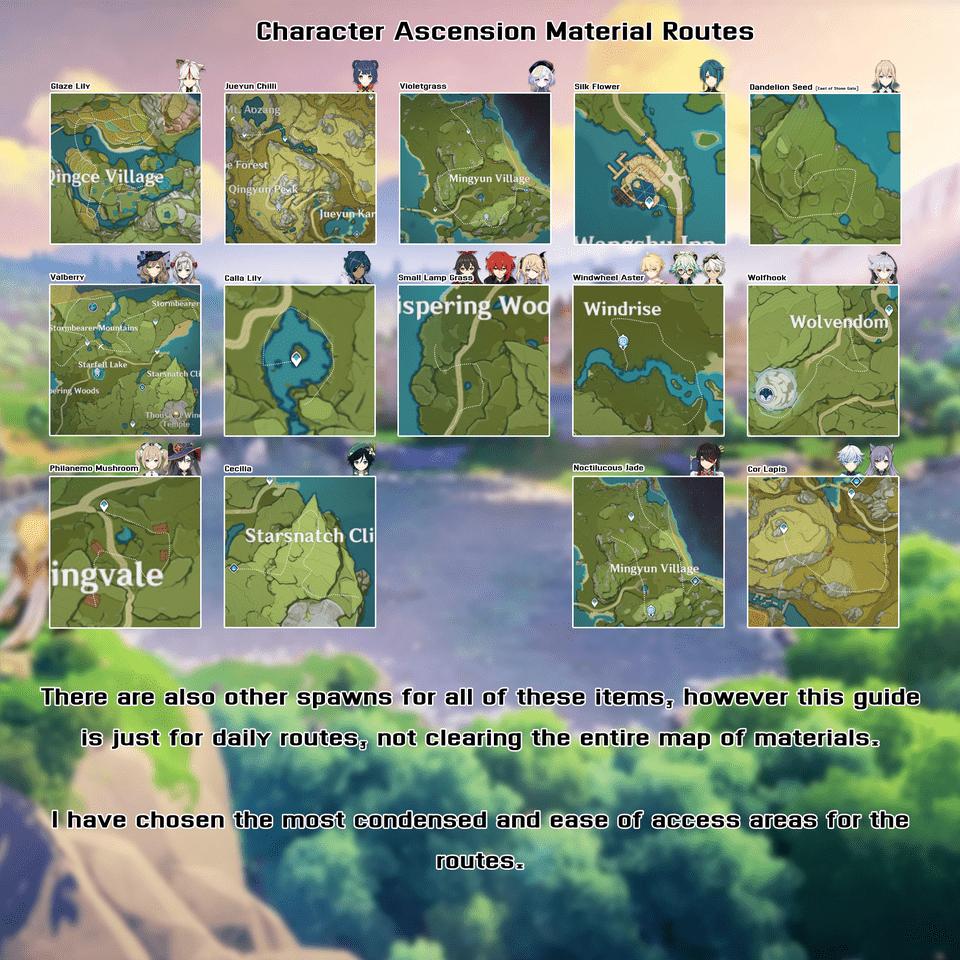Карта фарма ресурсов Genshin Impact для возвышения героев